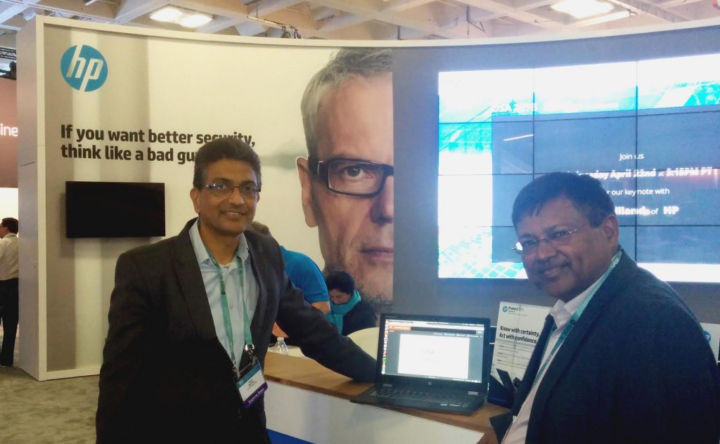 Atul Garg (right), VP and GM HP Cloud and Automation, and Sesh Murthy (left) SVP Worldwide Sales and Customer Care, Cloud Raxak at HP Booth at RSA